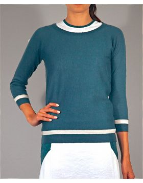 STRIPE JERSEY FEATHER CASHMERE  SWEATER